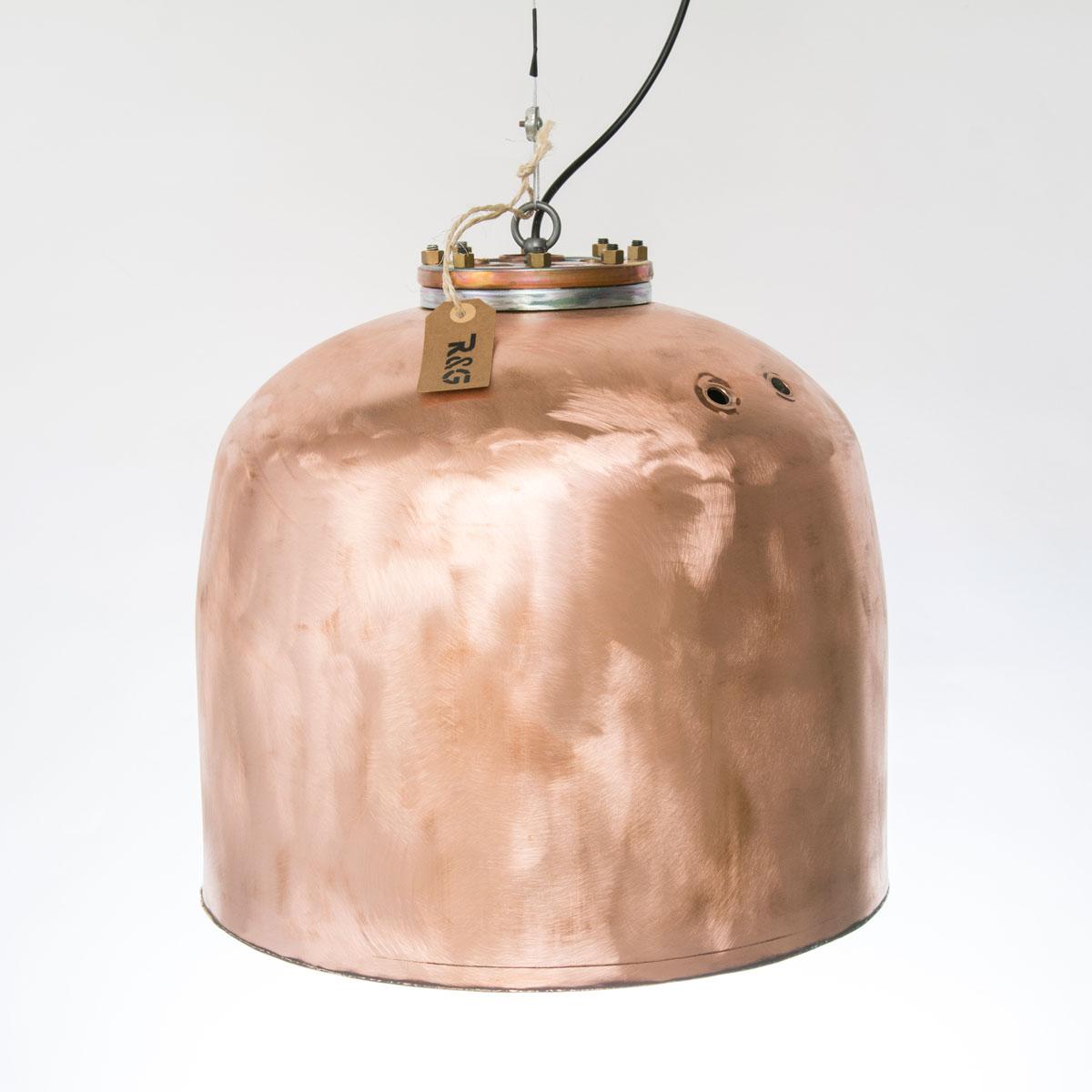 Koperen hanglamp met flens