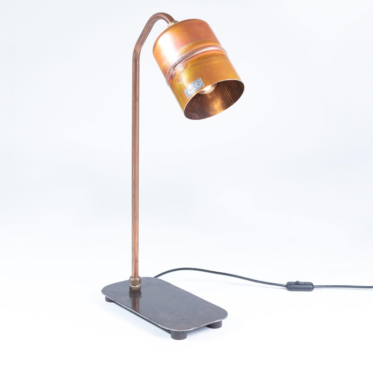 Industriële koperen tafellamp