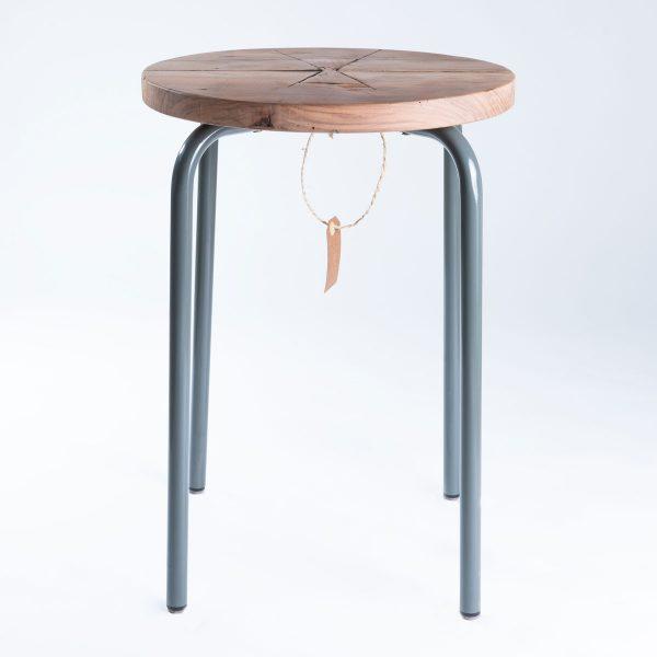 Kruk-Rond-Vlinderverbinding-Teak-grijs-5